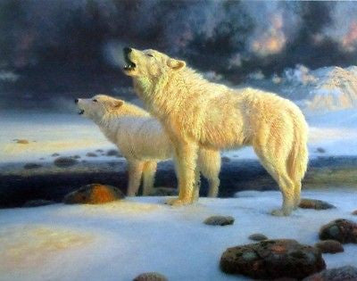 Arctic Echoes-Arctic Wolves by Richard Burns 22 x 17.5 Signed and Numbered