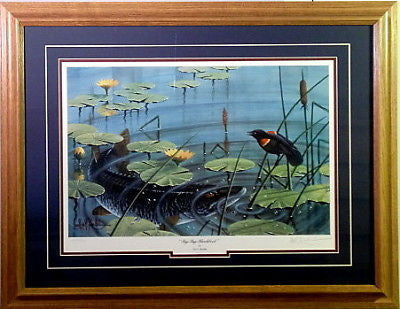 LES KOUBA BYE BYE BLACKBIRD FISHING PRINT Framed