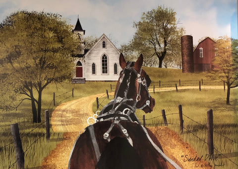 Billy Jacobs Sunday Drive Horse Art Poster Print (16x12)
