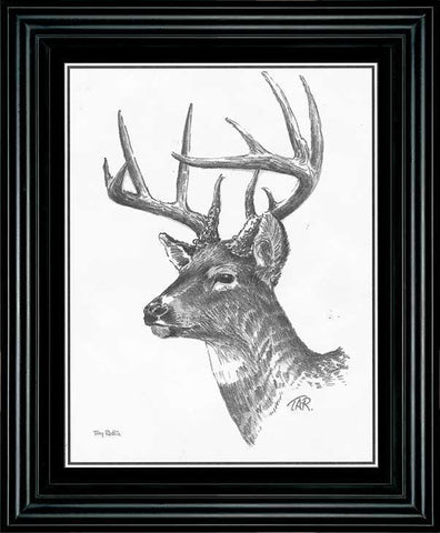 Terry Redlin Deer Pencil Sketch Framed 9.5'' x 11.5''
