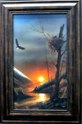Terry Redlin Flying Free Framed Textured Eagle Print