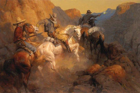 Andy Thomas Ambush on the Bandit Trail Cowboy Gunfight Art Print