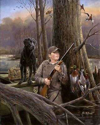 Ready For Action Boy Duck Hunting Print Signed Numbered Print By R.J. Mcdonald 18 x 22.5