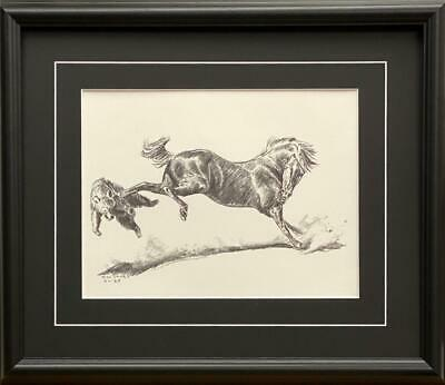 Will James Fighting it out bear and horse Art print-Framed 20 x 17