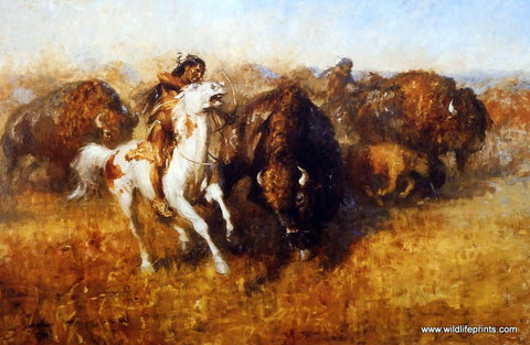 Andy Thomas Buffalo Hunt - 15 x 10 Signed Edition