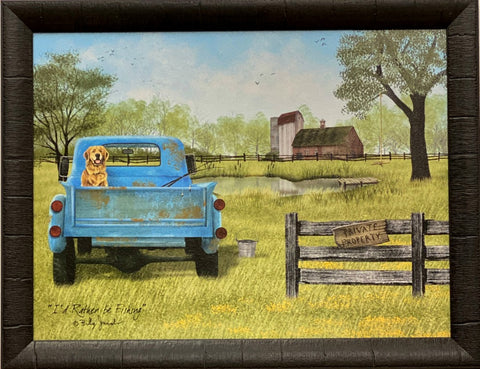 Billy Jacob's I'd Rather be fishing Dog Farm Old Truck Art Print-Framed 27 x 21