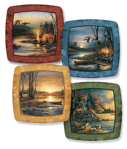 Terry Redlin Set of Four Camping Series Mini Plates-Free Shipping