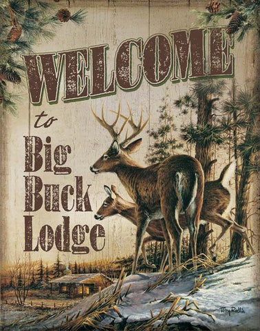 Terry Redlin Welcome to Big Buck Lodge Tin Sign