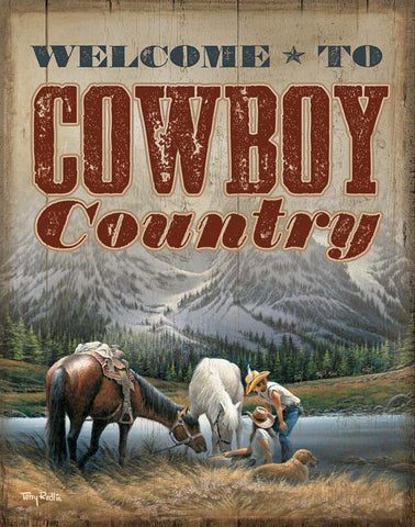 Redlin Welcome to Cowboy Country-Tin Sign