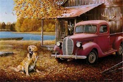 A Golden Autumn By Larry Chandler Dog Retriever Print SN  23.5 x 16