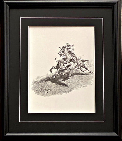 Will James Cowgirl Saves the Day Black and White Western Art Print-Framed 17 x 20
