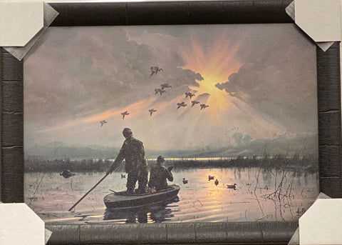 Les Kouba Daybreak on the Marshes Duck Hunting Art Print-Framed 26.5 x 19