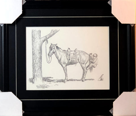Will James Getting on the Hard way Boy Horse Pencil Art Print-Framed 19.5 x 16.5