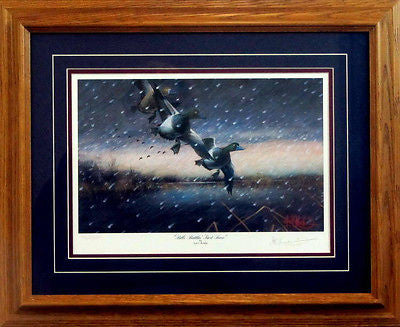 Les Kouba Bills Battlin First Snow Framed Duck Print  21 x 17