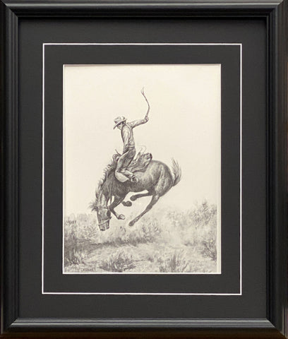 Will James Cowboy RIding  Bucking Horse Western Art Print-Framed 17 x 20