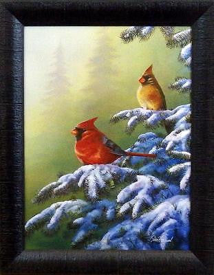 "Jim Hansel "" Winter Refuge"" Cardinal  Studio Canvas- Framed"