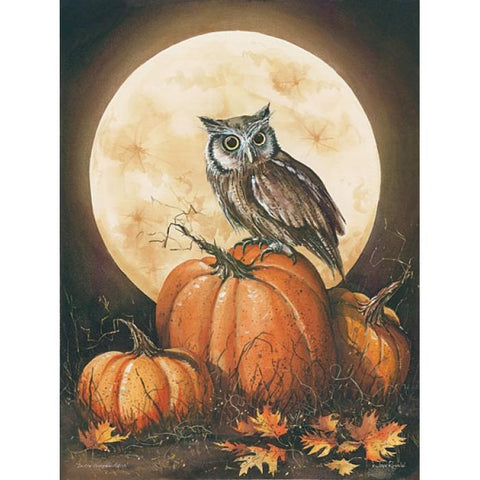 John Rossini In the Pumpkin patch Owl Art Print
