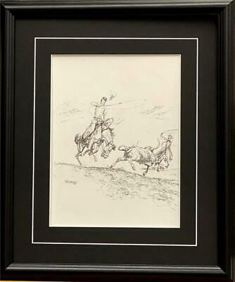 Will James Cowboys Team up Roping a Steer Art Print-Framed 17 x 20