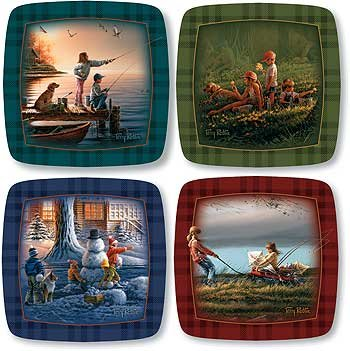 Wild Wings Kids at Play Square Mini Collector Plates by Terry Redlin,