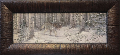Mark Daehlin Watched Wolf Print-Framed 17.5 x 8