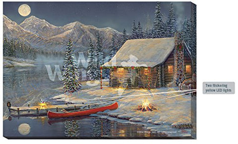 A Cozy Christmas Lighted Wrapped Canvas by Sam Timm