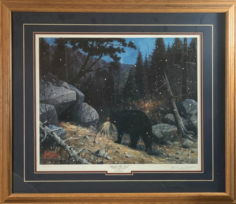 Les Kouba Makin His Den, S/N Black Bear Art Print-Framed 29 x 25
