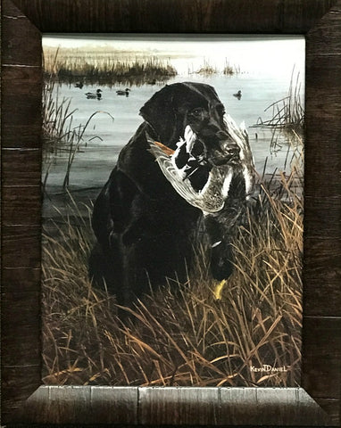 Kevin daniel A Friend in the Marsh Black Lab Duck Hunting Art Print 19 x 15