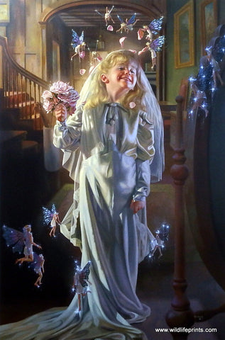 Bob Byerley Childen's Art Print Little Girl Playing Dress-up