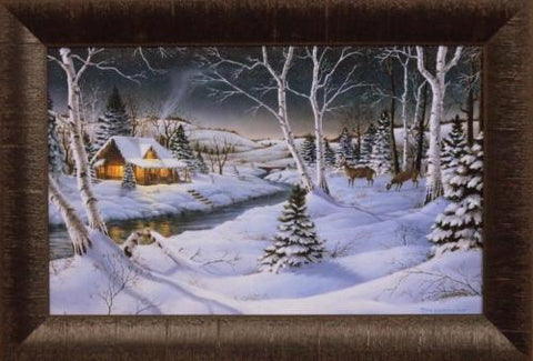 Mark Daehlin A Winters Night Deer Cabin Art Print-Framed 19 x 13