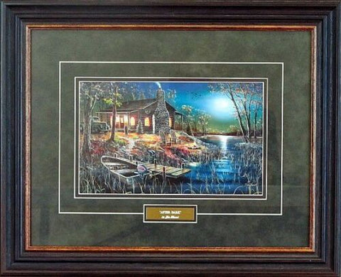Jim Hansel After Dark Lake Cabin Art Print-Framed 21 x 17