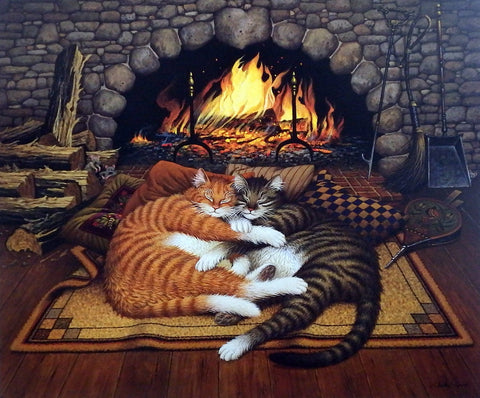 Charles Wysocki Cat Picture ALL BURNED OUT