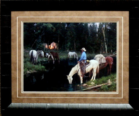 Bill Anton Evening Arrival Cowboy Art Print-Framed