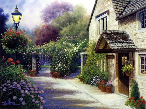 Charles White Picture of cottage and flower gardens