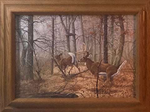 James Kennedy Autumn Pursuit Deer Art Print-Framed