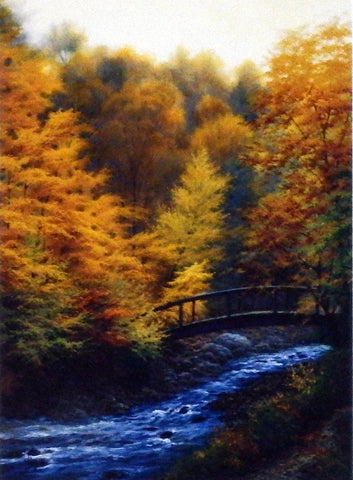 Landscape picture by Charles White fall colors and stream