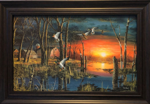 Jim Hansel Autumn Visitors Duck Farm Art Print-Framed 14.5 x 10