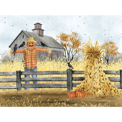 Billy Jacobs Scatterbrains Scarecrow and Pumpkin Art Print