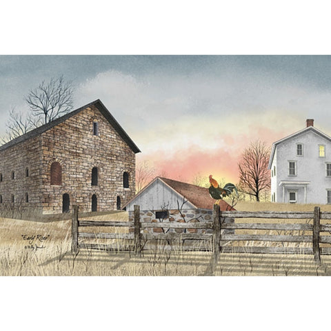 Billy Jacobs Early Riser Chicken Farm Art Print 18 x 12
