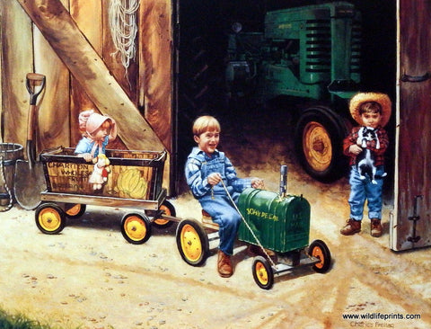 Children playing farmer with John Deere tractor in print by Charles Freitag