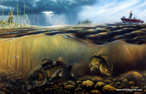Brian Kuether walleye fishing from Lund boat art print BEFORE THE STORM