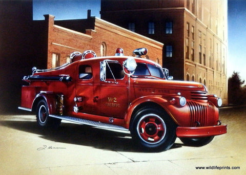 Dan Hatala Vintage Fire Truck Picture BIG RED
