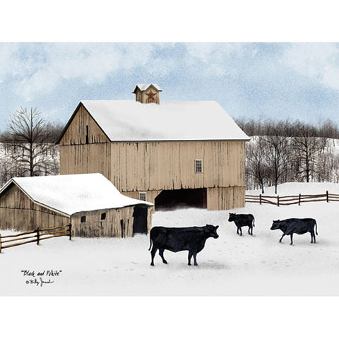 Bill Jacobs Black and White Cow Farm Prnt 16 x 12