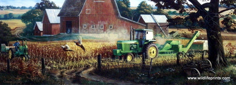 Charles Freitag print John Deere tractor flushes out pheasants
