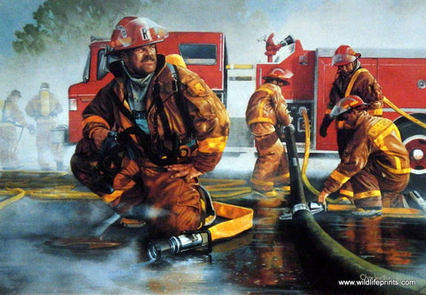 Charles Freitag Firefighting Print BREAKIN' IT DOWN
