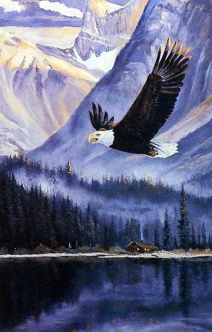 Andrew Kiss Print Eagle Flying over mountain lake
