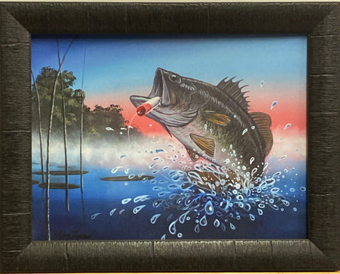 Jim Hansel Breaking the surface fishing Art Print-Framed