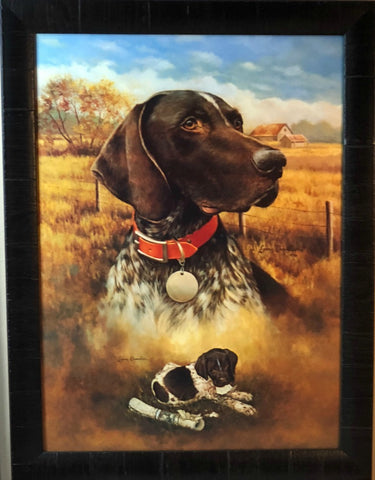 Larry Chandler Brown/White Grerman Shorthair with Pup Art Print-Framed