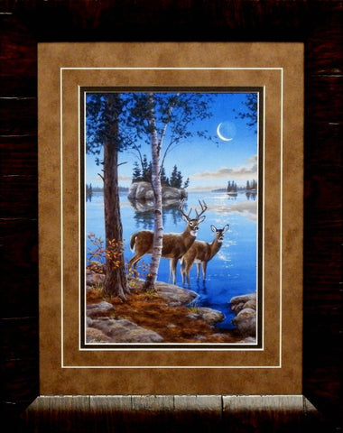 Darrell Bush Night Cap Deer Art Print-Framed