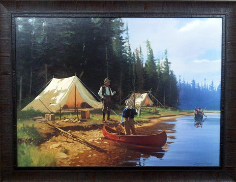 Brett Smith FRAMED Tent Camping and Fishing Art Print