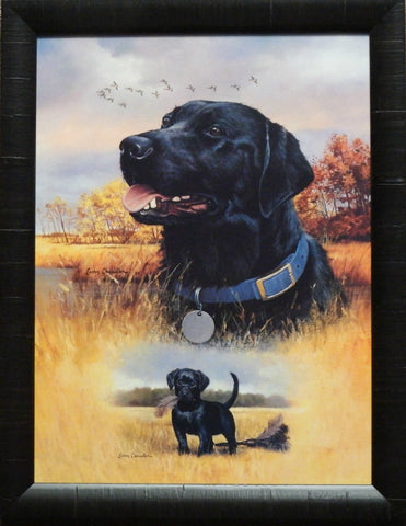 Larry Chandler Black Lab and Puppy Framed Print 20 x 26
